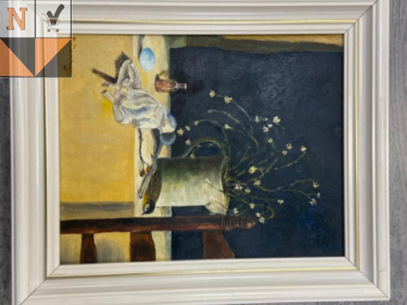Tafel schilderij met bloem en musje